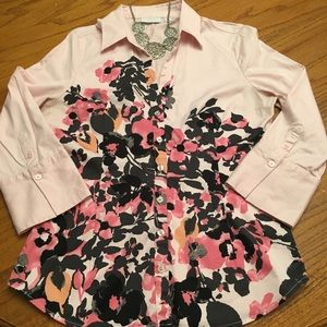 New York&Co. Button Down Pink Floral Top